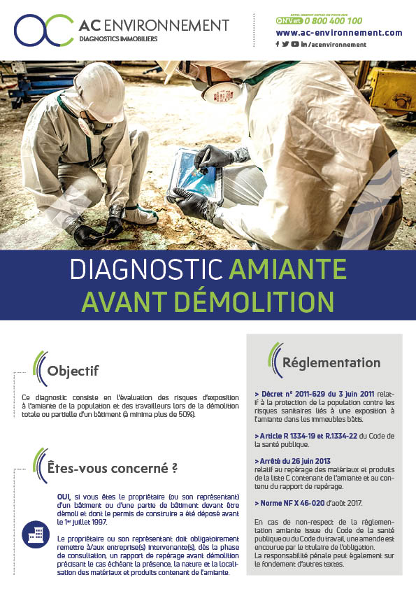diagnostic amiante avant demolition Ac Environnement